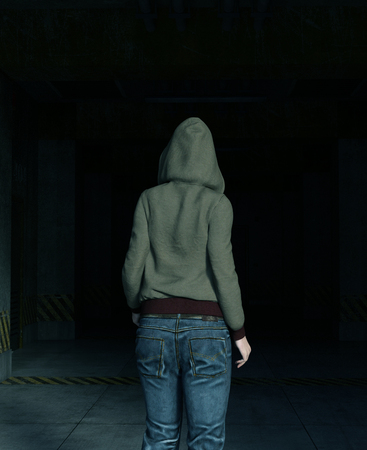 3d illustration of Hoodie woman walking in to a dark place,Horror movie scene