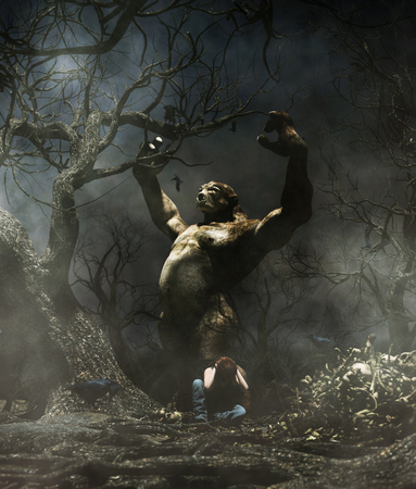 Troll attack a woman in the woods,3d illustration for book illustration or book cover