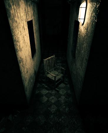 Representación 3D de una vieja silla en casa embrujada o asilo