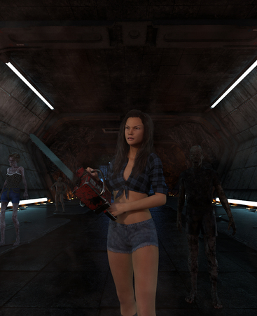 3d illustration of  woman with chainsaw fight with an undead in scifi corridor,3d fantasy art for book cover,book illustration