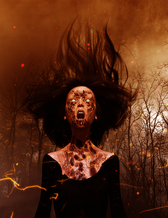 3d illustration of Ghost woman screaming in the woods,Scary background mixed media Stock Photo