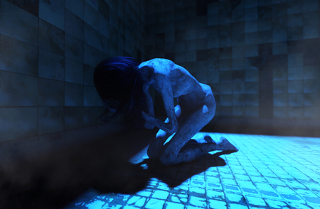 Dark room,Ghost woman in abandoned house,3d illustration