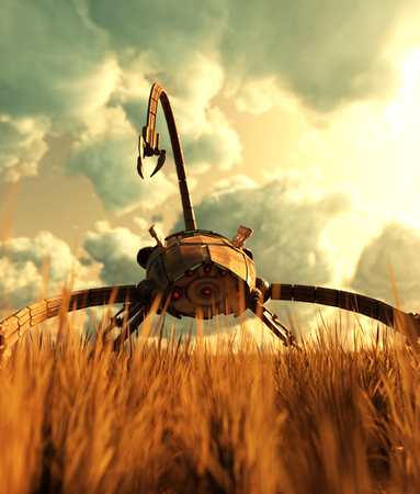 A giant mech in grass field,3d illustration