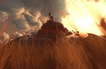 An alien sitting on the UFO saucer that crashing on grassland,3D illustration concept background