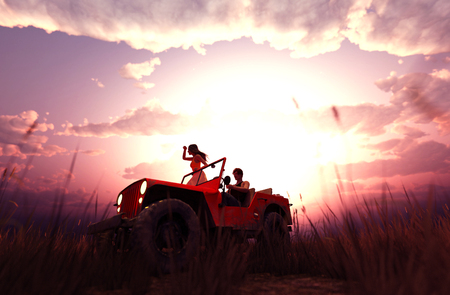 Romantic couple driving an old jeep car in grass field,3d rendering