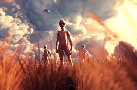 An aliens in grass field,3D illustration concept background Imagens