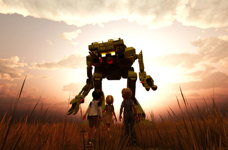 Childrens looking to a giant robot,3d illustration