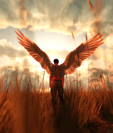 3d illustration d'un ange dans le champ d'herbe