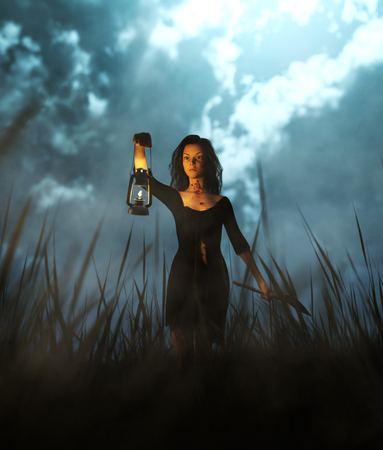 Survivor woman carrying an axe in field at night,fantasy horror conceptual 3d illustration background