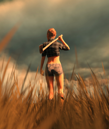 Survivor woman carrying an axe in field,fantasy horror conceptual 3d illustration background