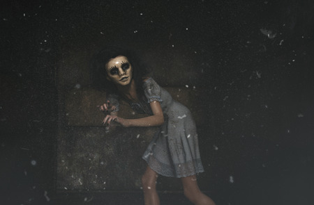 ghost woman in creepy mask as she have to hiding her face,3d illustration
