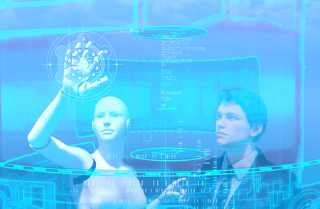 Artificial intelligence,3d illustration of business person and robot in virtual reality Imagens