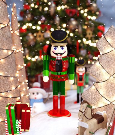 Nutcrackers toy decorated for christmas season,3d rendering