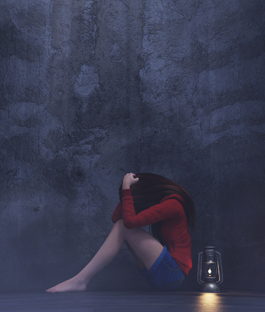 Stress girl sitting alone in a dark room or asylum,3d rendering Standard-Bild - 115432456