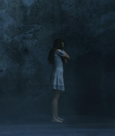 Stress woman in a dark room,3d rendering