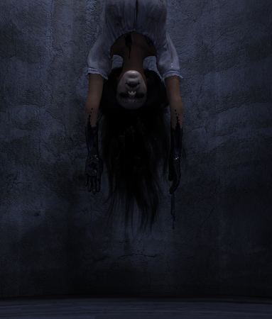 Ghost woman in a dark room,3d rendering