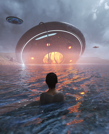 Woman sighting a UFO crashing in the sea,3d illustration Stock Photo