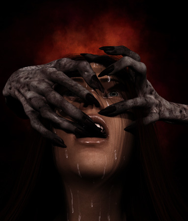 Portrait of woman being threaten by hands of the devil,3d illustration