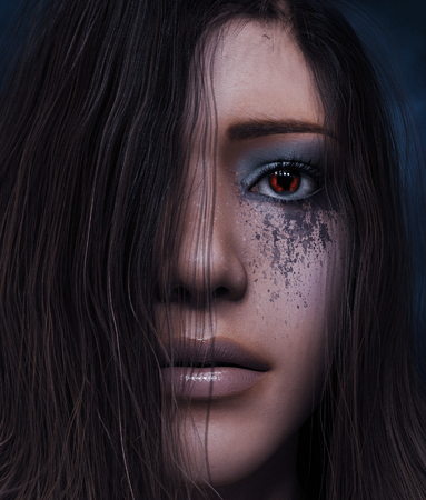 Look through my eyes,Portrait of Ghost woman,3d illustration