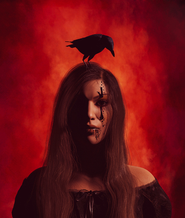 Sign of an evil,Portrait of Ghost woman with crow,3d illustration
