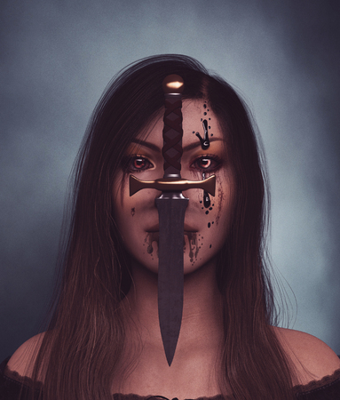 Evil hunter,Ghost woman portrait with dagger in her face,3d illustration Stock Photo