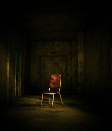 3d rendering of an old chair in haunted house or asylum Imagens