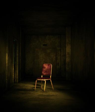 Le rendu 3D d'une vieille chaise dans une maison hantée ou un asile