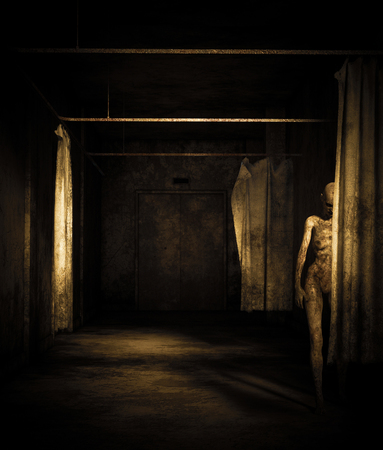 Ghost woman in abandoned building,3d illustration Stock Photo