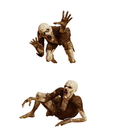 Scary zombie isolated on white background,3d rendering