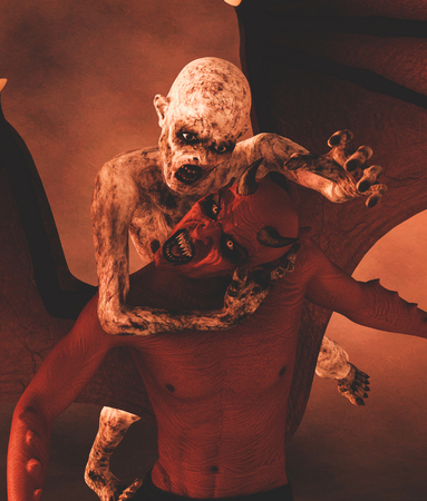 Zombie fight with demon,3d illustration Stock Photo