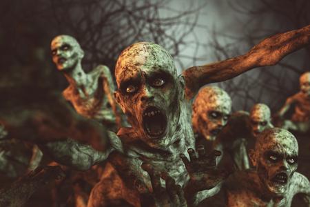 Zombies horror night,3d illustration Stock Photo