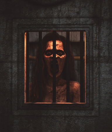 Ghost woman inside the locked room,3d illustration Standard-Bild - 116903440