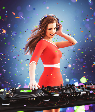 It's all about music,Sexy dj girl in the club,3d illustration Banque d'images - 116903472