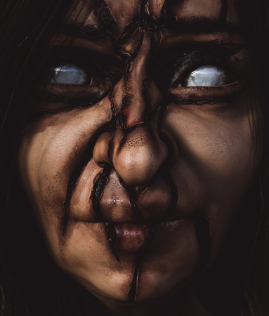 Darkness witch,woman with creepy face,3d illustration Stock Photo