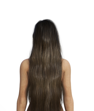 Portrait of Ghost woman with long hair**rear view,3d illustration