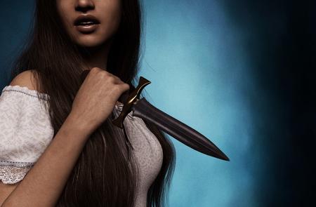 Sister of horror,woman with dagger,3d rendering Reklamní fotografie