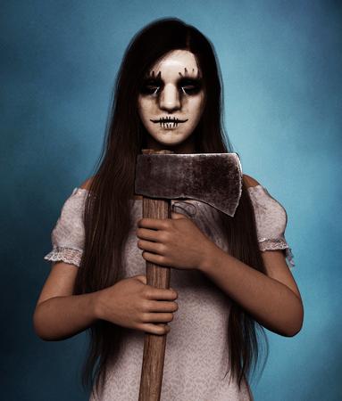 Sister of Clown,Portrait of a killer clown woman with hatchet,3d rendering Reklamní fotografie