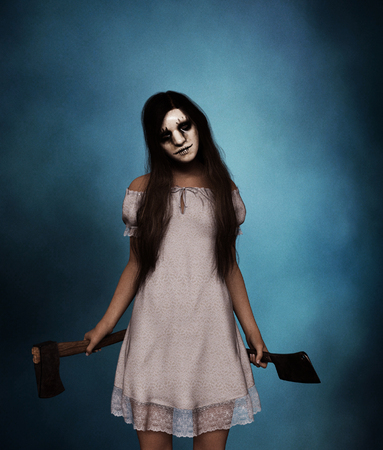 Sister of horror,Portrait of a killer woman with hatchet and cleaver,3d rendering Stock Photo