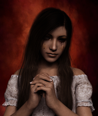 Portrait of Ghost woman,3d illustration Stock Photo