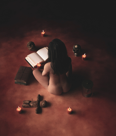 Witchs rites,Naked woman is doing a ritual,3d rendering