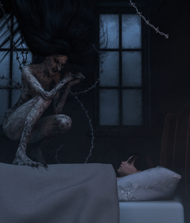 Night hag,Folklore story,Teenage girl with sleeping paralysis,girl being visit or immobilizes by a demonic,3d rendering 版權商用圖片