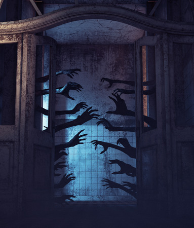 House of a thousand hands,Undead hands behind the doors in a haunted house,3d rendering Stock Photo