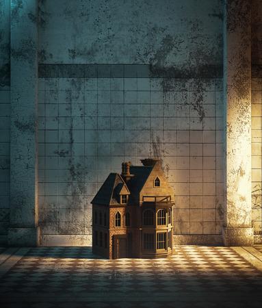 Maison de poupée dans le couloir hanté, illustration 3d pour la couverture du livre Banque d'images
