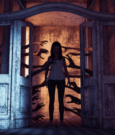 House of a thousand hands,Undead hands behind the doors haunting the girl in a haunted house,3d rendering Stock Photo