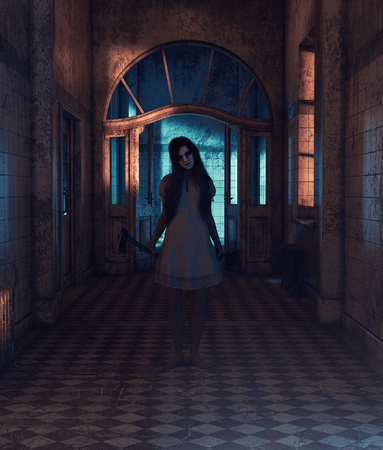 Sister of horror,Portrait of a killer woman with hatchet and cleaver,3d rendering