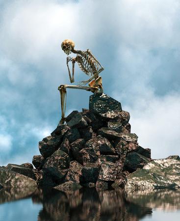 Vous attend toujours, squelette assis seul sur le rocher, rendu 3d