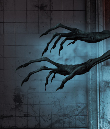 Evils hands out from the doors of a haunted house,3d rendering Stock Photo