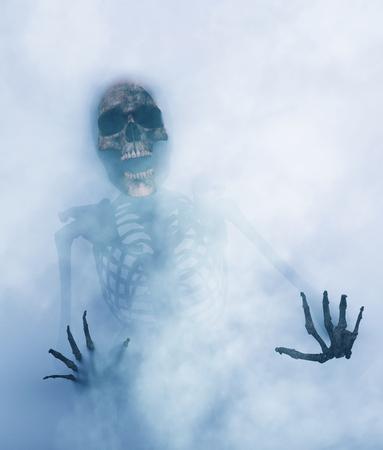 Le squelette essaie de sortir d'une autre dimension, rendu 3d