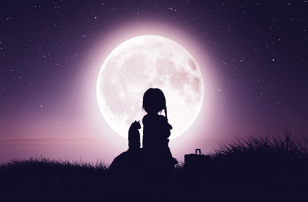 Girl with the cat on the cliff looking to the moon,3d rendering Foto de archivo - 120695184