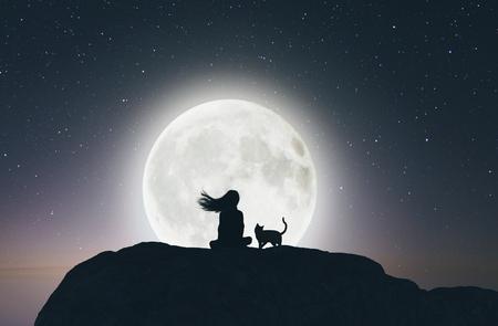 Chica con el gato en el acantilado mirando a la luna, render 3d